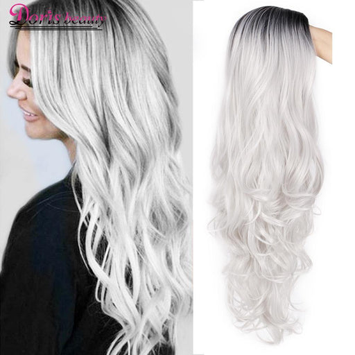 Doris Beauty Synthetic Long Wavy Ombre Gray Wig For Woman Cosplay Wig Brown Red Black Blonde Heat-Synthetic None-Lace Wigs-SINISHAIR Store-gray-26inches-EpicWorldStore.com