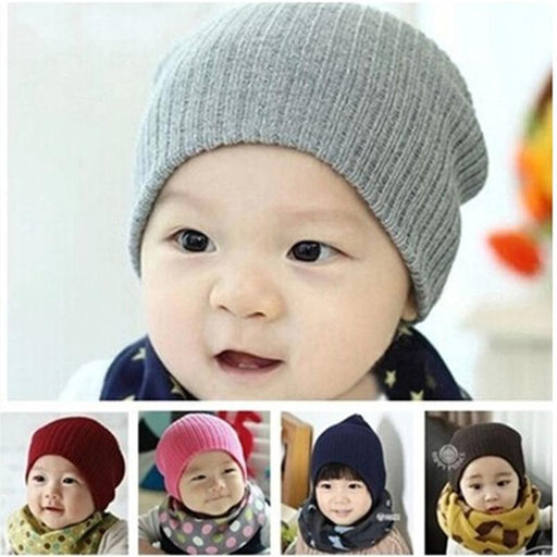350768497d7 Dreamshining Baby Hat Kids Newborn Knitted Cap Crochet Solid Children  Beanies Boys Girls Hats-Baby