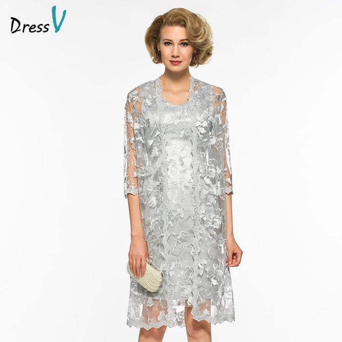8cde25dc6ce Dressv Gray Knee Length V Neck Mother Of Bride Dress With Half Sleeves With  Jacket Lace