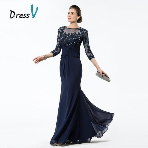Dressv Long Navy Blue Mother Of The Bride Dresses Chiffon Beaded Appliques  Bodice Sheer 3  2c48626647da