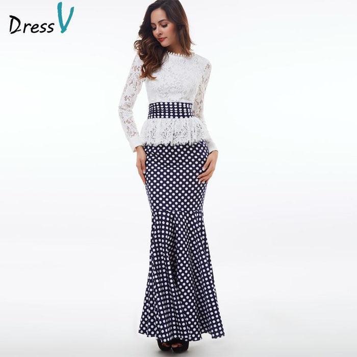 Dressv Polka Dot Mermaid Evening Dress White Long Sleeves Scoop Neck Lace Trumpet  Evening Dress- 8f0b349b67fc