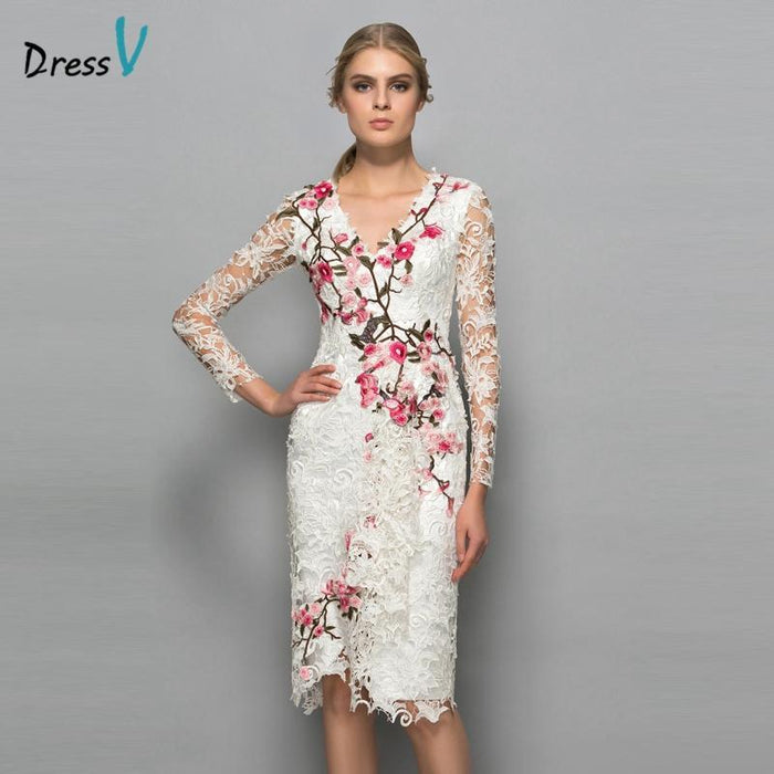 Dressv V-Neck Long Sleeves Cocktail Dress Sheath Appliques Lace Knee Length  Flowers Elegant Cocktail 13a7d1158