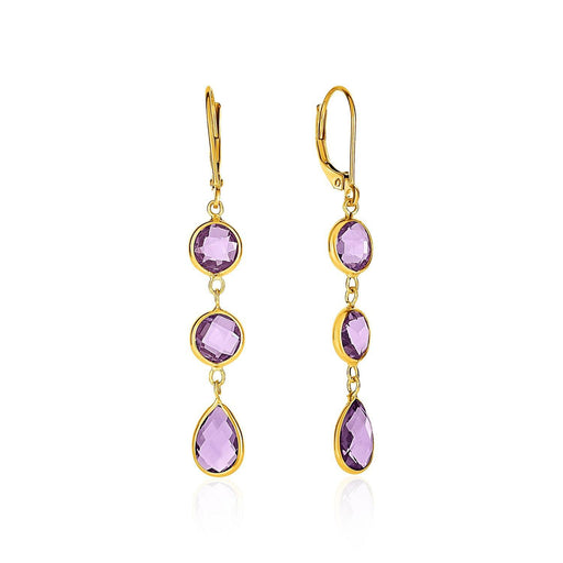 Drop Earrings With Round And Pear-Shaped Amethysts In 14K Yellow Gold-Jewelry-EpicWorldStore.com-EpicWorldStore.com