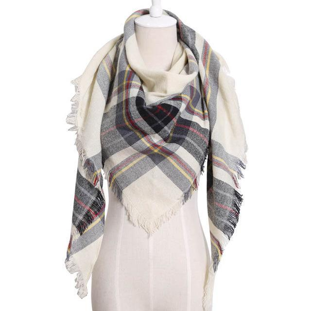 Drop Ship Winter Brand Women Scarf Warm In Winter Plaid Shawl Wool Blanket Scarves-Accessories-KUNMAO Apparel Store-T JS beige-EpicWorldStore.com