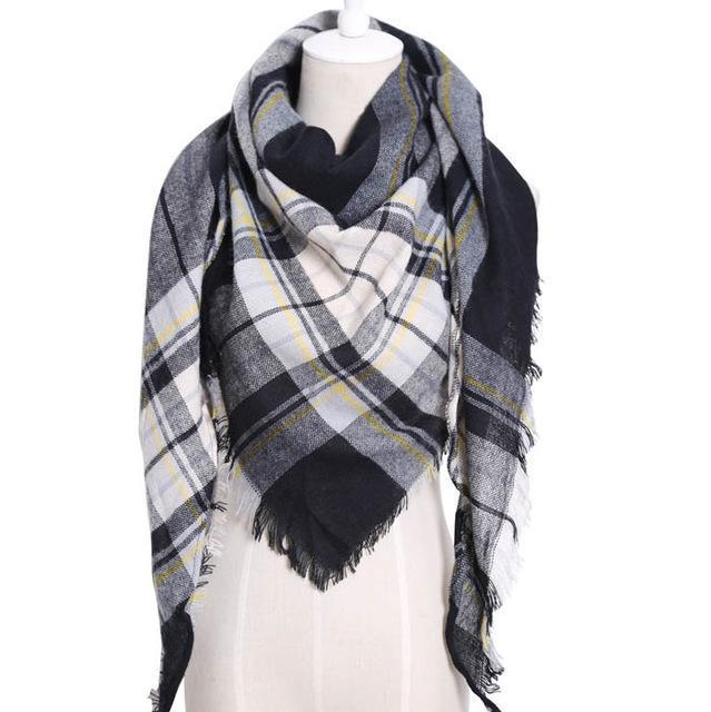 Drop Ship Winter Brand Women Scarf Warm In Winter Plaid Shawl Wool Blanket Scarves-Accessories-KUNMAO Apparel Store-T JS black-EpicWorldStore.com