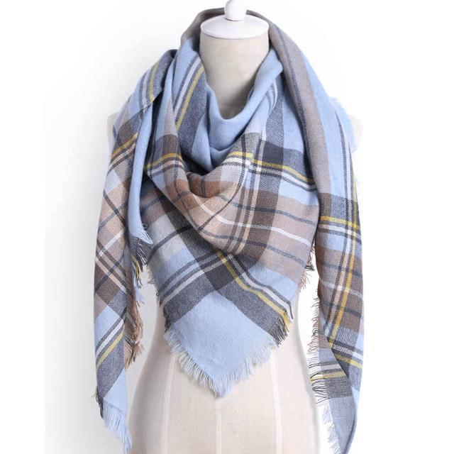 Drop Ship Winter Brand Women Scarf Warm In Winter Plaid Shawl Wool Blanket Scarves-Accessories-KUNMAO Apparel Store-T JS blue-EpicWorldStore.com