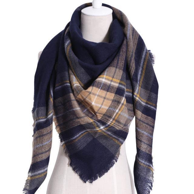 Drop Ship Winter Brand Women Scarf Warm In Winter Plaid Shawl Wool Blanket Scarves-Accessories-KUNMAO Apparel Store-T JS Navy-EpicWorldStore.com
