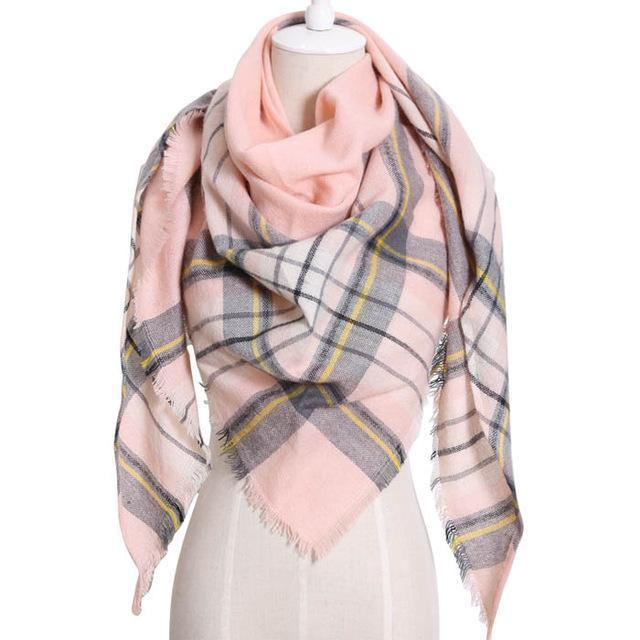 Drop Ship Winter Brand Women Scarf Warm In Winter Plaid Shawl Wool Blanket Scarves-Accessories-KUNMAO Apparel Store-T JS pink-EpicWorldStore.com