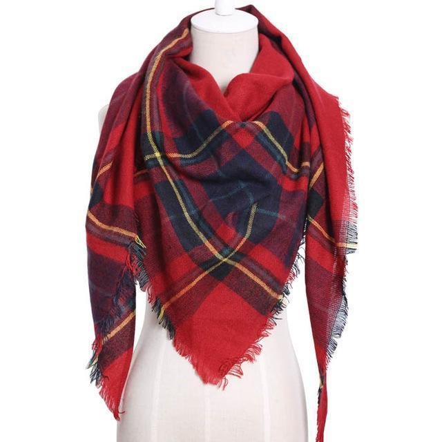 Drop Ship Winter Brand Women Scarf Warm In Winter Plaid Shawl Wool Blanket Scarves-Accessories-KUNMAO Apparel Store-T JS red-EpicWorldStore.com