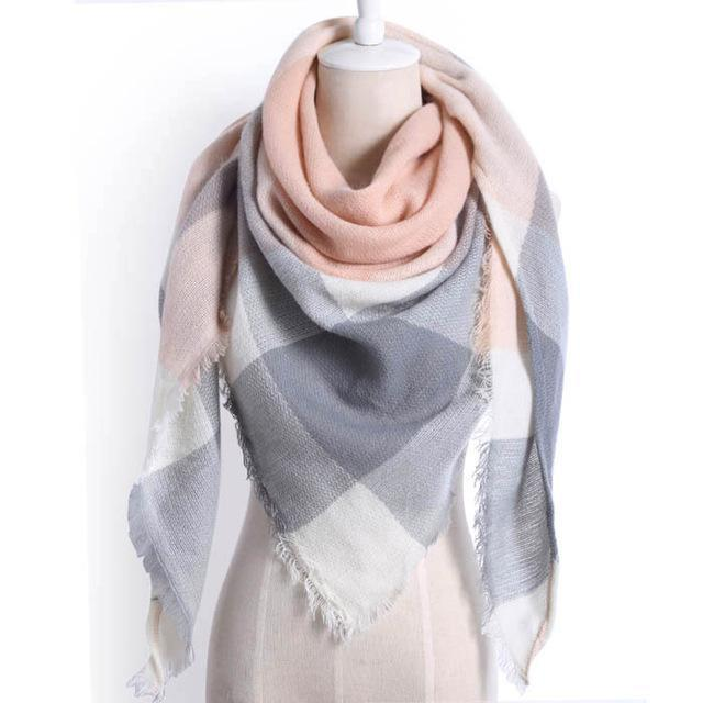 Drop Ship Winter Brand Women Scarf Warm In Winter Plaid Shawl Wool Blanket Scarves-Accessories-KUNMAO Apparel Store-triangle color1-EpicWorldStore.com