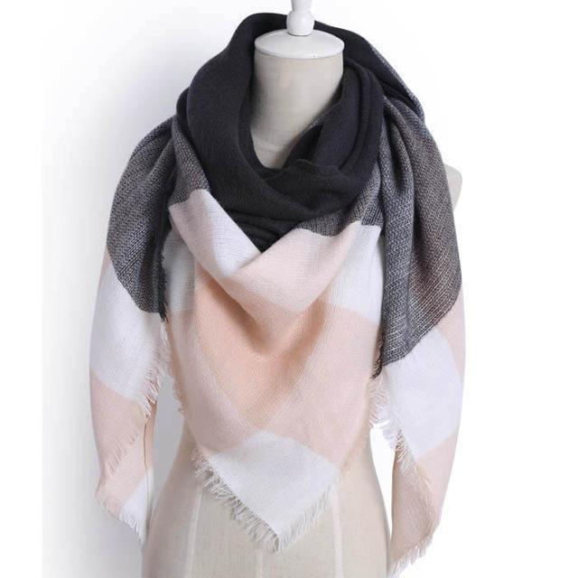 Drop Ship Winter Brand Women Scarf Warm In Winter Plaid Shawl Wool Blanket Scarves-Accessories-KUNMAO Apparel Store-triangle color10-EpicWorldStore.com