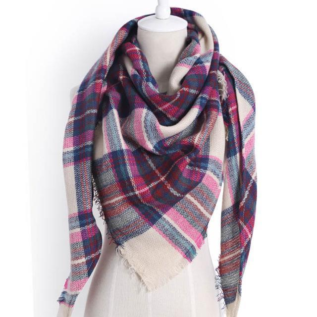 Drop Ship Winter Brand Women Scarf Warm In Winter Plaid Shawl Wool Blanket Scarves-Accessories-KUNMAO Apparel Store-triangle color12-EpicWorldStore.com