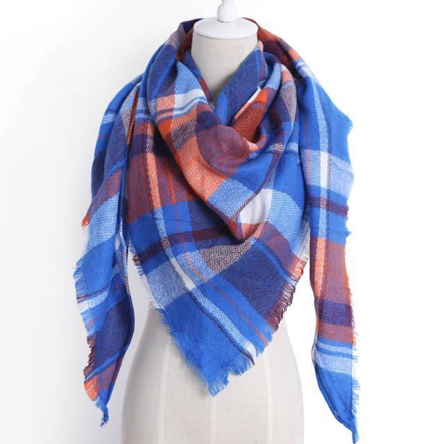 Drop Ship Winter Brand Women Scarf Warm In Winter Plaid Shawl Wool Blanket Scarves-Accessories-KUNMAO Apparel Store-triangle color19-EpicWorldStore.com