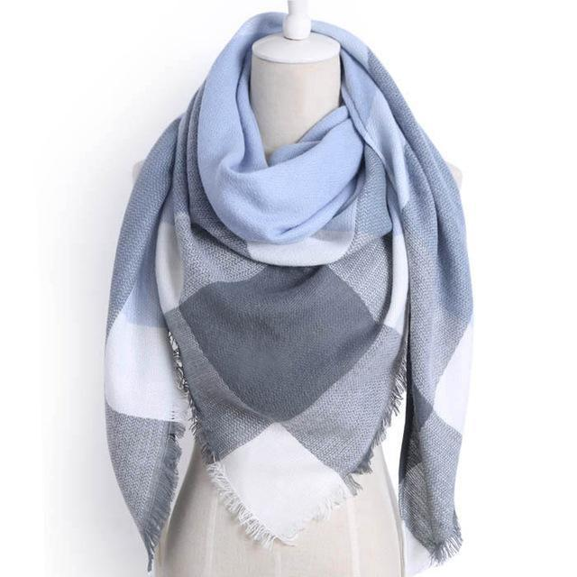 Drop Ship Winter Brand Women Scarf Warm In Winter Plaid Shawl Wool Blanket Scarves-Accessories-KUNMAO Apparel Store-triangle color2-EpicWorldStore.com