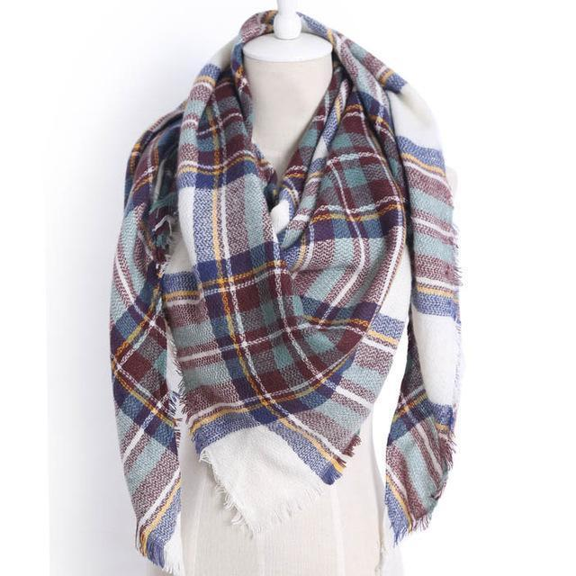 Drop Ship Winter Brand Women Scarf Warm In Winter Plaid Shawl Wool Blanket Scarves-Accessories-KUNMAO Apparel Store-triangle color20-EpicWorldStore.com