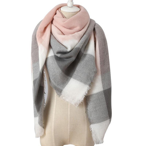 Drop Ship Winter Brand Women Scarf Warm In Winter Plaid Shawl Wool Blanket Scarves-Accessories-KUNMAO Apparel Store-triangle color4-EpicWorldStore.com