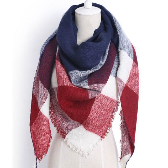 Drop Ship Winter Brand Women Scarf Warm In Winter Plaid Shawl Wool Blanket Scarves-Accessories-KUNMAO Apparel Store-triangle color5-EpicWorldStore.com