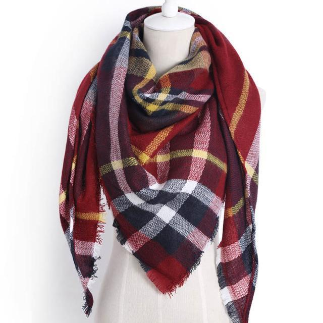 Drop Ship Winter Brand Women Scarf Warm In Winter Plaid Shawl Wool Blanket Scarves-Accessories-KUNMAO Apparel Store-triangle color6-EpicWorldStore.com