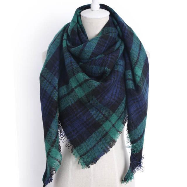 Drop Ship Winter Brand Women Scarf Warm In Winter Plaid Shawl Wool Blanket Scarves-Accessories-KUNMAO Apparel Store-triangle green-EpicWorldStore.com