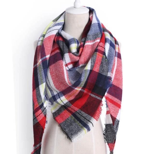 Drop Ship Winter Brand Women Scarf Warm In Winter Plaid Shawl Wool Blanket Scarves-Accessories-KUNMAO Apparel Store-triangle honghei-EpicWorldStore.com