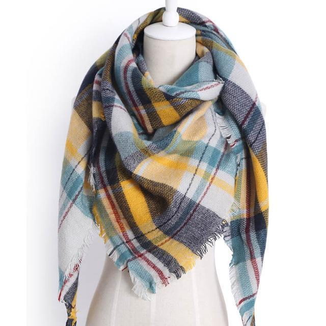 Drop Ship Winter Brand Women Scarf Warm In Winter Plaid Shawl Wool Blanket Scarves-Accessories-KUNMAO Apparel Store-triangle Z1562-EpicWorldStore.com