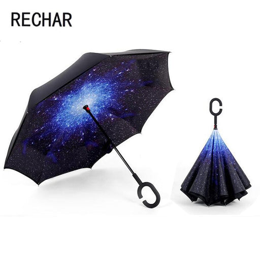 Dropshipping Windproof Reverse Folding Double Layer Inverted Umbrella Self Stand Umbrella Rain Women-Household Merchandises-liangzhijia diamond painting-Light blue-EpicWorldStore.com