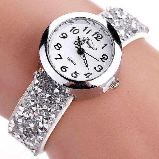 Duoya Brand Watches Women Crystal Rhinestone Bracelet Watch Ladies Quartz Luxury Vintage-Women's Bracelet Watches-77 Fashion-Coffee-EpicWorldStore.com