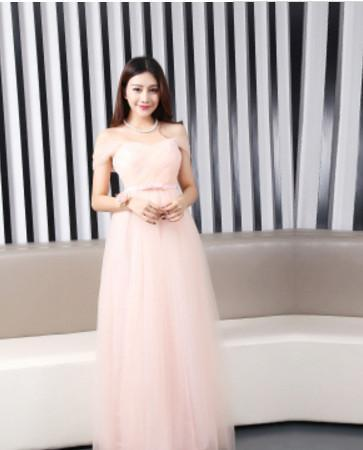 Dusty Pink Long Bridesmaid Dress Sweetheart Tulle Cheap Pleated Prom