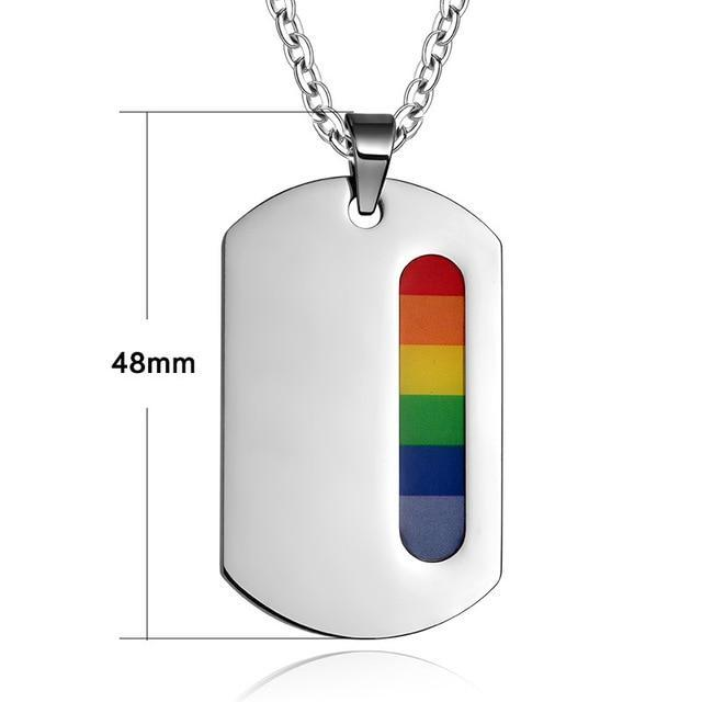 Eamior Women Men Rainbow Stainless Steel Peace Dog Tag Pendants & Necklaces For Gay Lesbian Lgbt-Shop2140030 Store-EpicWorldStore.com