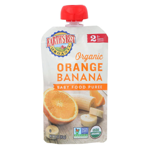 Earth'S Best Organic Orange Banana Baby Food Puree - Stage 2 - Case Of 12 - 4 Oz.-Eco-Friendly Home & Grocery-Earth's Best-EpicWorldStore.com