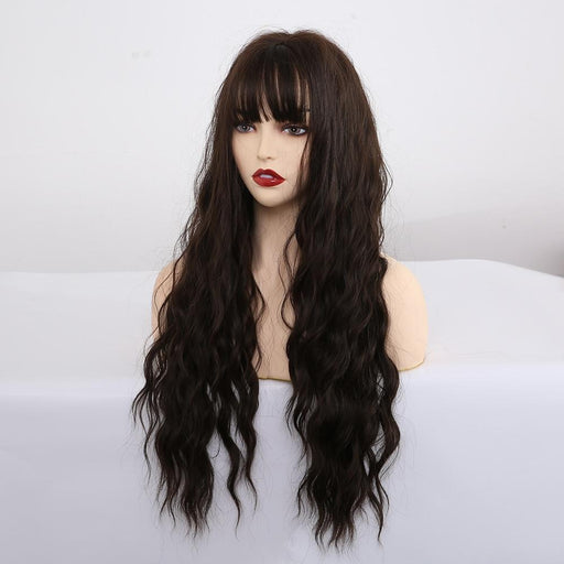 Easihair Long Dark Brown Synthetic Wigs For Women Water Wave Cosplay Wigs With Bangs Heat-Home-EASIHAIR Official Store-LC222-1-EpicWorldStore.com
