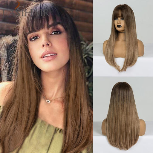 Easihair Long Straight Synthetic Wigs Brown To Blonde Ombre Hair Wigs With Bangs For Woman Afro High-Home-EASIHAIR Official Store-LC169-1-EpicWorldStore.com