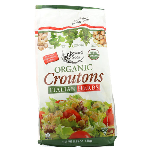Edward And Sons Organic Croutons - Italian Herbs - Case Of 6 - 5.25 Oz.-Eco-Friendly Home & Grocery-Edward And Sons-EpicWorldStore.com