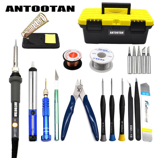 Electrical Soldering Iron Gray Eu 220V 60W Adjustable Temperature Kit Welding Repair Tool Set With-JASTE Store-EpicWorldStore.com