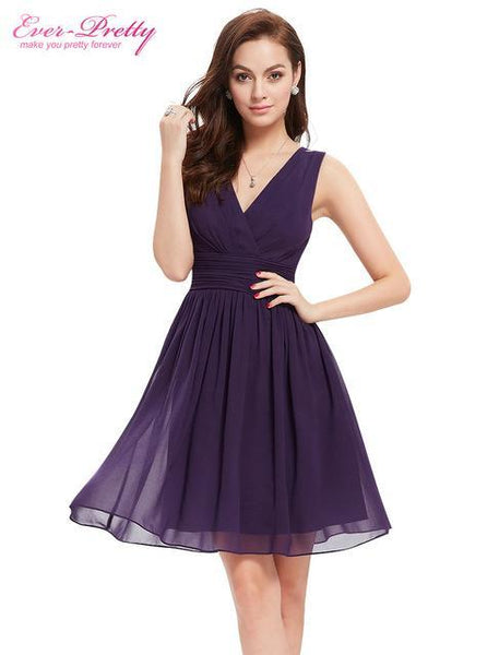 Elegant Chiffon Cocktail Dresses Ever Pretty Ep03989 Double V Neck