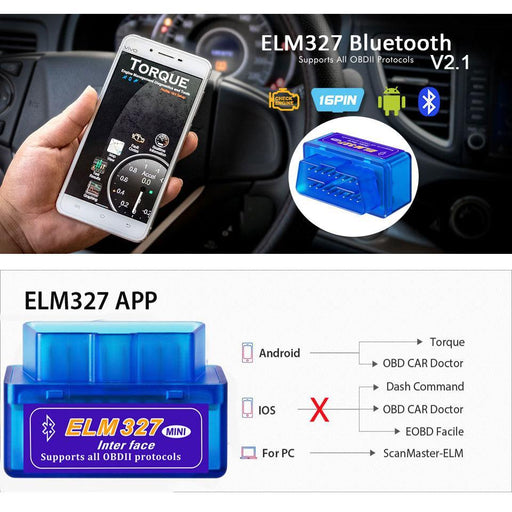 Elm327 Bluetooth Obd2 V2.1 Car Diagnostic Tool Code Scan Reader Work On Android/Pc Elm 327 Bluetooth-Car Repair Tools-KINGBOLEN Store-Brake Fluid Tester-EpicWorldStore.com
