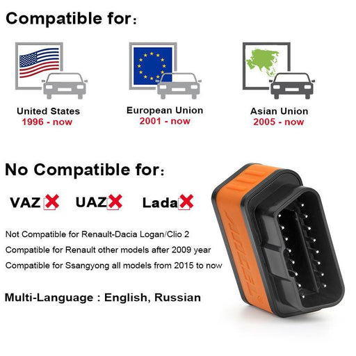 Elm327 Obd2 Scanner Ancel Icar2 Icar 2 Bluetooth Car Diagnostic Code Reader Real V1.5 For Android-Car Repair Tools-OBDSPACE Store-Orange-EpicWorldStore.com
