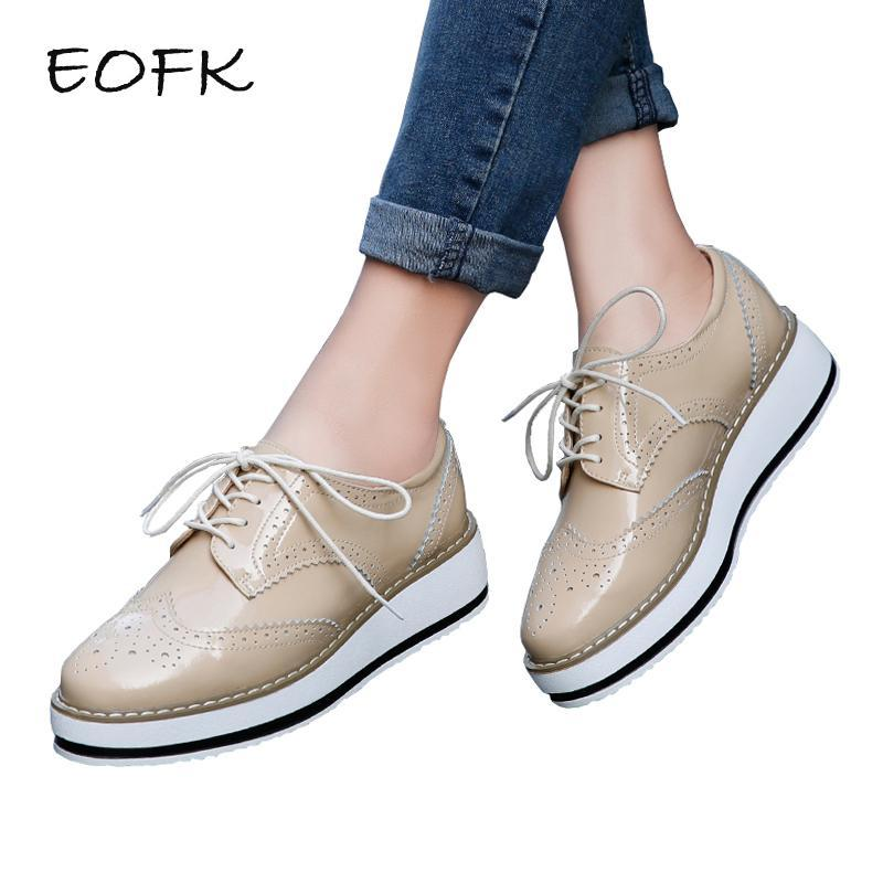 ae83bfbcafd Eofk Brand Spring Women Platform Shoes Woman Brogue Patent Leather Flats  Lace Up Footwear Female-