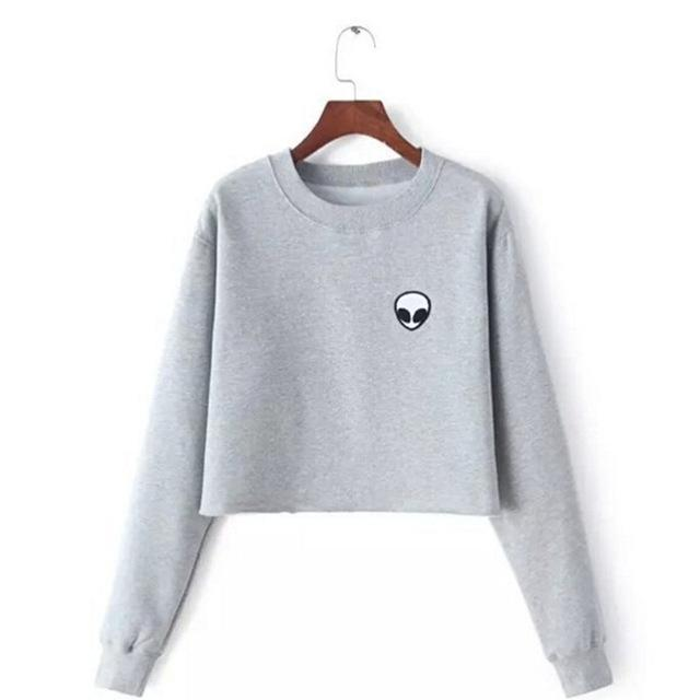 Et Aliens Printing Hoodies Sweatshirts Harajuku Crew Neck Sweats Women Clothing Feminina Loose Short-Hoodies & Sweatshirts-World Shopping-Silver-S-EpicWorldStore.com