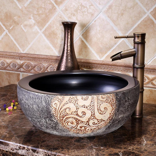 Europe Style Luxury Bathroom Vanities Chinese Jingdezhen Art Counter Top Ceramic Round Counter Top-Bathroom Sinks-China Art Bathroom Sinks-EpicWorldStore.com
