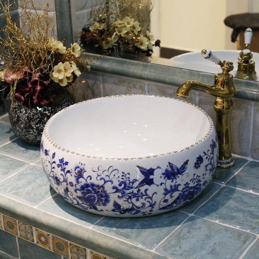 Europe Vintage Style Art Porcelain Countertop Basin Sink Ceramic Bathroom Vessel Sinks Vanities-Bathroom Sinks-China Art Bathroom Sinks-EpicWorldStore.com