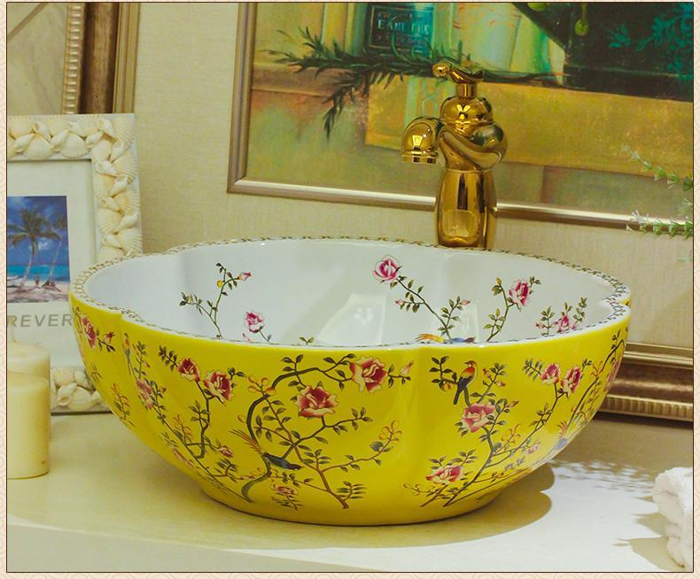 Europe Vintage Style Ceramic Art Basin Sinks Counter Top Wash Basin  Bathroom Vessel Sinks Vanities