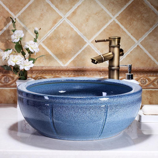 Europe Vintage Style Round Shaped Ceramics Vanity Basin Art Countertop Sinks Vanity Wash Basin-Bathroom Sinks-China Art Bathroom Sinks-EpicWorldStore.com