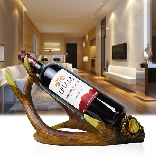 European Creative Resin Wine Rack Home Desktop Arts Decoration Antlers Wine Holders Bottle Stand-Statues & Sculptures-Art Gallery Store-No glass and bottle-EpicWorldStore.com
