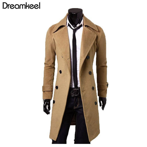 European Style Mens Jacket Double Breasted Coat Mens Winter Jackets And Coats Lengthened Simple-EpicWorldStore.com-Black-M-EpicWorldStore.com