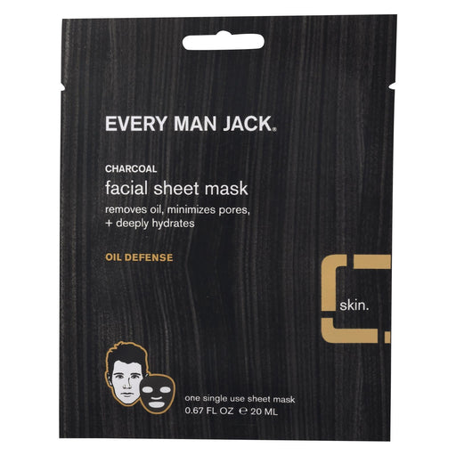 Every Man Jack Face Mask - Activated Charcoal Facial Sheet Mask - Case Of 6 - .67 Oz.-Eco-Friendly Home & Grocery-Every Man Jack-EpicWorldStore.com