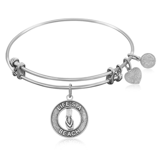 Expandable Bangle In White Tone Brass With Life'S A Beach Symbol-Jewelry-EpicWorldStore.com-EpicWorldStore.com