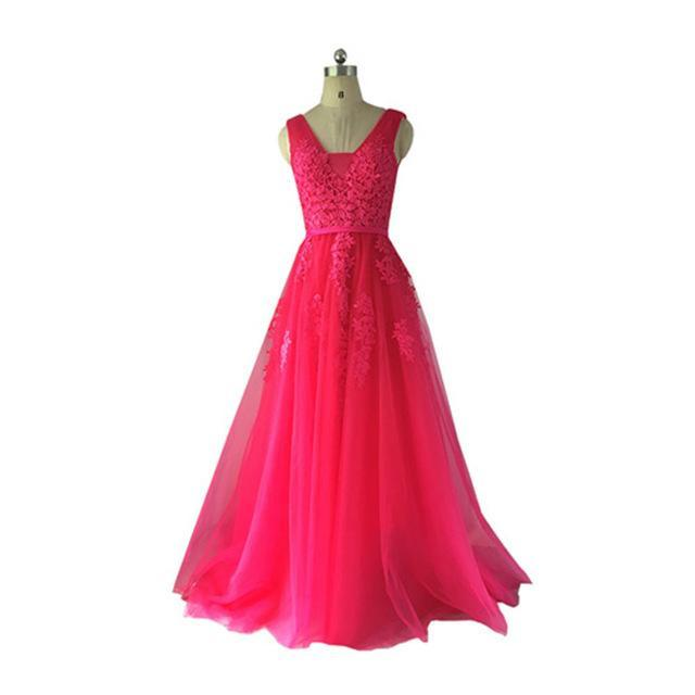 Fadistee Elegant Long Bridesmaid Dresses Appliques Lace Beading Lace-Up  Style Wedding Party Dress- c327a20ff033