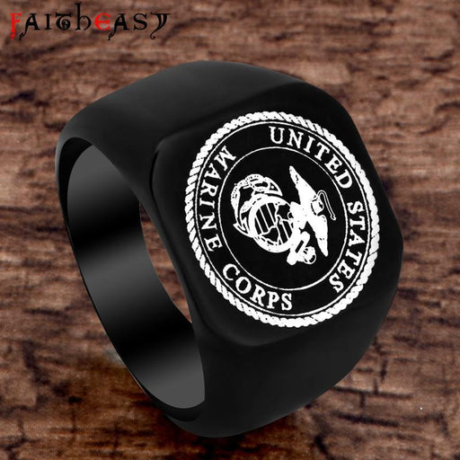 Faitheasy Usmc Stainless Steel Ring Men Us Army Marine Corps Titanium Punk Biker Ring-Rings-Steampunk Jewelry Store-7-EpicWorldStore.com