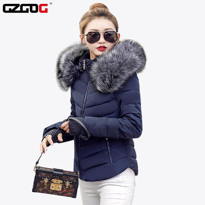Fake Raccoon Fur Collar Parka Down Cotton Jacket Winter Jacket Women Thick Snow Wear Coat Lady-Jackets & Coats-GZGOG Official Store-Black-S-EpicWorldStore.com
